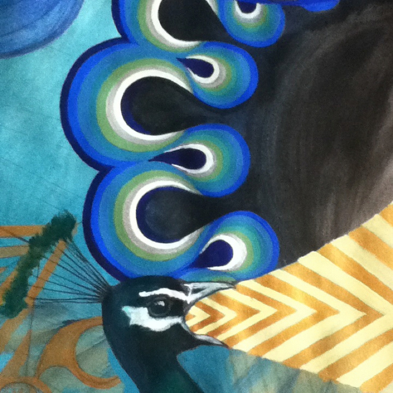 peacock painting detail
